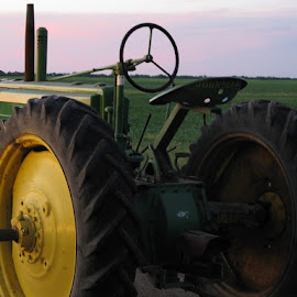 2 cylinder sunset by Kimberly Mehrer - Transportation Other ( farm, field, sunset, john deere, sunshine, tractor )