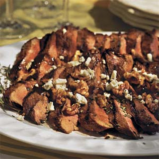 Maple-Mustard-Glazed Balsamic Steaks With Blue Cheese-Pecan Confetti