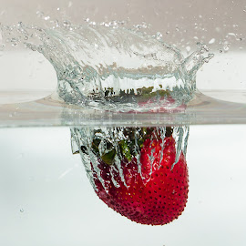 Strawberry Sinking by Dave Mazzaferro - Food & Drink Fruits & Vegetables ( water, fruit, red, high speed, strawberry )