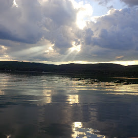 God lights   by Brenda Parsons - Landscapes Cloud Formations ( water, clouds, blue, sky line, lake,  )