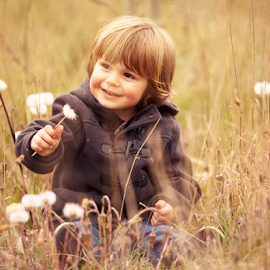 Happy Pud by Chinchilla  Photography - Babies & Children Toddlers ( field, england, dandelion, grass, cute, toddler, spring )
