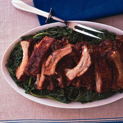 Cranberry-Glazed Ribs with Wilted Greens