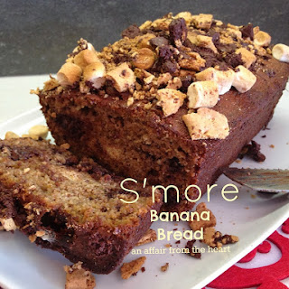 S'Mores Banana Bread with Kahlua Caramelized Bananas