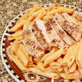 Tomato Cream Sauce Pasta with Grilled Chicken
