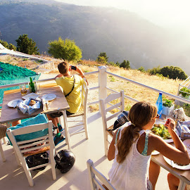 Bon apetit by Andrei Smoleanu - Landscapes Travel ( sunset, greece, lefkada, restaurant )