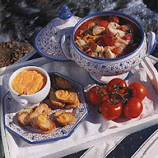 Fish Soup with Tomatoes and Red Pepper-Garlic Sauce