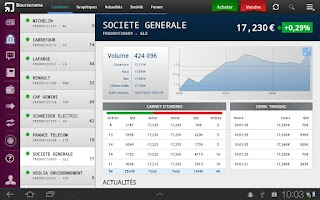 Screenshot of Boursorama pour tablettes