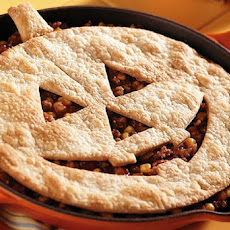 Jack-O-Lantern Sloppy Joe Pie (Halloween Recipe)