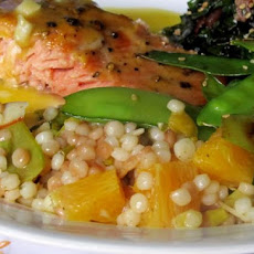 Orange Israeli Couscous With Snow Peas