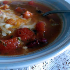 Cheesy Topped Bean Soup