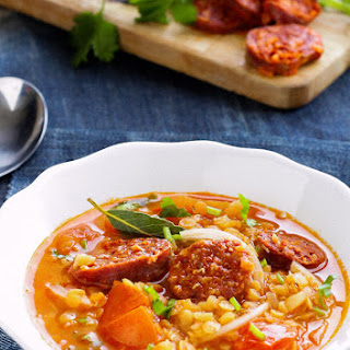 Spicy Tomato Chorizo Red Lentil Soup