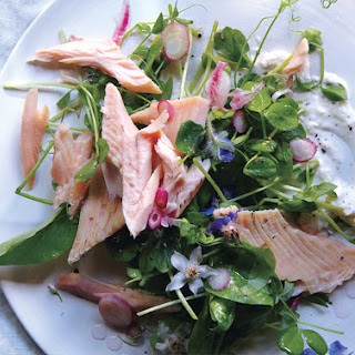 Smoked Trout with Pea Shoots and Spring Onions