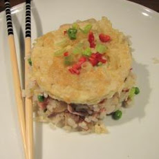 Chilli Pork And Ham Rice With Sesame Omelette Garnish