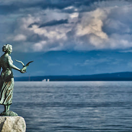 Maiden with the seagull by Marko Hanžeković - Buildings & Architecture Statues & Monuments ( clouds, opatija, statue, seagull, girl, croatia, sea, maiden )