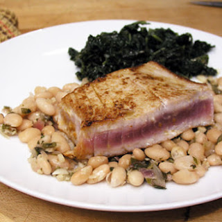 Peruvian Style White Beans with Marinated Seared Tuna