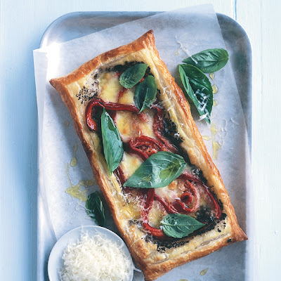 Roasted Capsicum, Bocconcini And Basil Tart