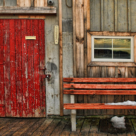 Red Door and Bench by Melissa Brookmire - Buildings & Architecture Other Exteriors ( maine, bench, door, cape porpoise, wharf )