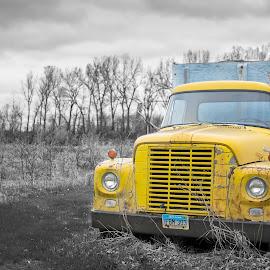Retired by Erica Brown - Transportation Other ( farm, north dakota, selective color, black and white, truck, retired, grain bin, international, grain truck, old truck, yellow truck, pwc )
