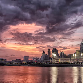 Cincinnati Sunset by Teresa Jack - City,  Street & Park  Skylines ( skyline, waterscape, sunset, cincinnati, cityscape, landscape )