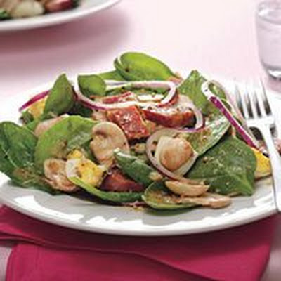 Ham-and-Spinach Salad with Mustard Seed Dressing