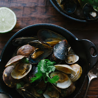 Steamed Clams and Mussels in Coconut Curry Broth