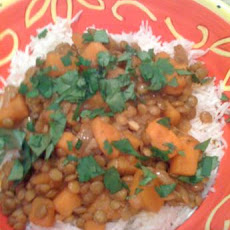 Sweet Potato and Lentil Curry With Rice