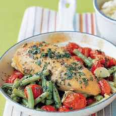 Chicken and Vegetable Saute with Lemon-Parmesan Rice