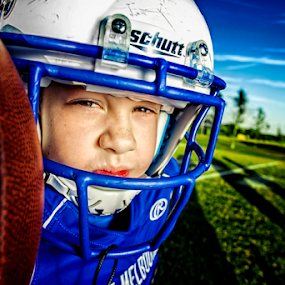 Football player by Ina Pandora - Babies & Children Child Portraits ( child, player, football, blue, stadium, kid )