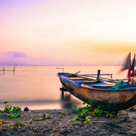 Stillness by Joey Tomas - Transportation Boats ( boats, seascape, beach, sunrise, fishing boat, slow shutter,  )