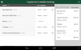Screenshot of Capital Bank Mobile Banking
