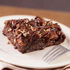 Warm Chocolate Bread Pudding with Turtle Topping