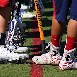 Gear by Alvin Simpson - Sports & Fitness Lacrosse ( shoes, cleats, red white blue, green, socks, sticks, turf, nets )