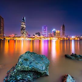 Night on Saigon river by Sơn Hải - City,  Street & Park  Vistas ( water, building, viet nam, asia, rock, vietnam, night, long exposure, light, asian, river,  )