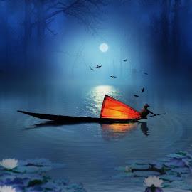 Fisherman by Anirban Pal - Digital Art Places ( bird, cs5, topaz, manipulated, boat )