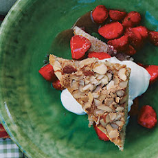 Toasted-Almond Cake with Strawberries in Rosé-Water Syrup