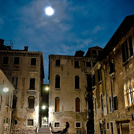 Moonlight by Jesus Giraldo - Buildings & Architecture Homes ( urban, old, night, solitude, homes, downtown, man, moonlight, city )
