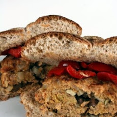 Mushroom and Mozzarella Stuffed Sausage Burgers with Peppadew Peppers and Garlicky Aioli