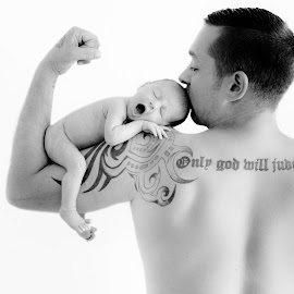 Only God Will Judge Me by Danielle Pedder - Novices Only Portraits & People ( daddy, tattoos, baby girl, sleepy, yawn, newborn, father )