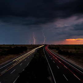 Coincidence by Rizvan Talha Kaynak - Transportation Roads ( highway, lighning, d300, light trails, long exposure, nikon, roads )