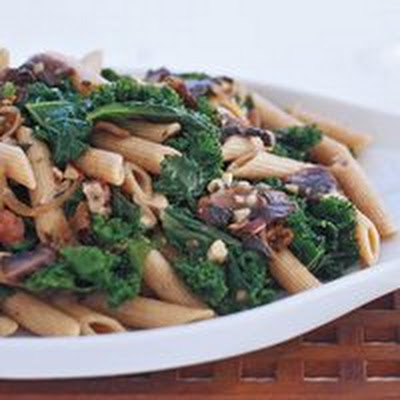 Whole Wheat Penne with Mushrooms, Kale and Hazelnut Gravy
