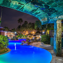 Pool Trail by Ed & Cindy Esposito - Buildings & Architecture Office Buildings & Hotels ( lights, puerto rico, pool, night, hotel )