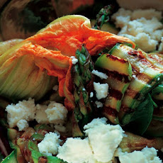 Grilled Zucchini with White Cheese and Zucchini Flowers