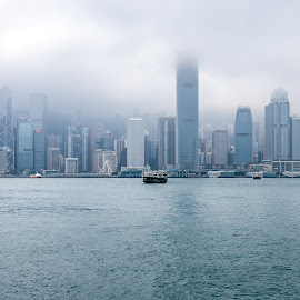 Hong Kong by Igor Pashinnik - City,  Street & Park  Skylines ( clouds, hong kong, skyline, seascape )