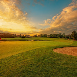 Sunrise on the 6th by Dave Sansom - Sports & Fitness Golf ( 'private golf club', 'north carolina', 'providence country club', architecture, landscape, usa, 'dave sansom', 'professional golf course photography', dawn, 'early morning', 'professional golf course photographer', 'golf course', golf, charlotte, sunrise )