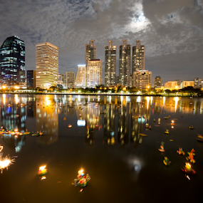 THE NIGHT OF LOI KRATHONG by Frank Photography - City,  Street & Park  Skylines ( reflection, skyline, thailand, romantic, lake, loi krathong, bangkok, lights, love, peace, night, full moon, hope )
