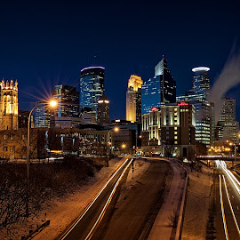 Minneapolis on a Cold Winter's Night by Mike Woodard - City,  Street & Park  Skylines ( night photography, minneapolis, hwy 35 )