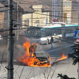 Burning up in flames by Adrian Podaru - News & Events Disasters ( accident, firefighters, burning, mercedes, fire )