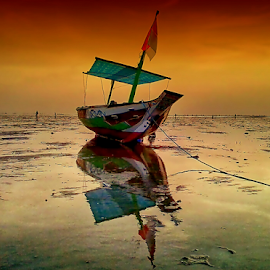 boat by Herry (Himura Kenshin) - Instagram & Mobile Android ( Beach, sunset, blue, water, ocean.  )