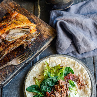Slow Roasted Lamb Shoulder on flatbreads with Minty yoghurt sauce