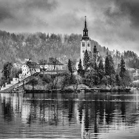 Lake Bled by Dobrinovphotography Dobrinov - Black & White Landscapes ( reflection, church, gorenjska, island lake, lake, beauty in nature, landscape, island, autumn, no people, slovenia, bled, santa maria church, cloud,  )